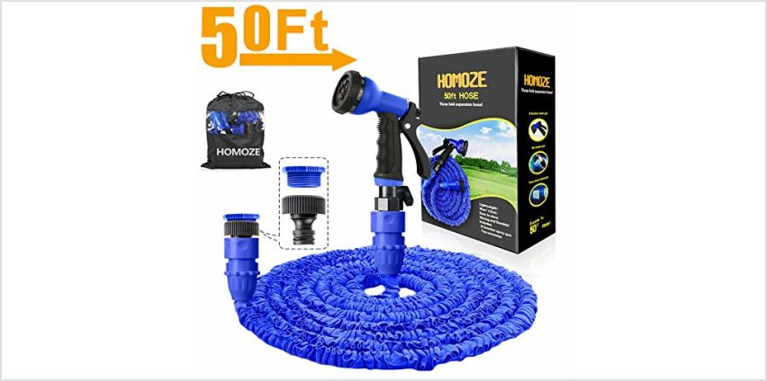 """HOMOZE 50ft Expandable Garden Water Hose Pipe with 3/4"""", 1/2"""" Fittings, Anti-leakage - Flexible Expanding Hose with 8 Function Spray Nozzle from Amazon"""