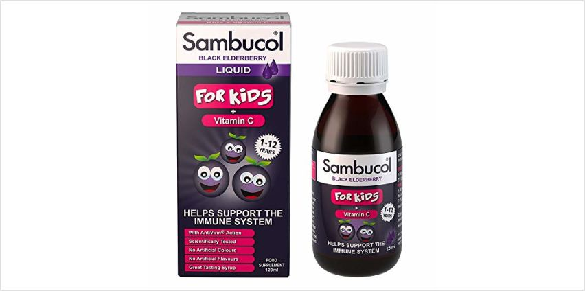 Save on Sambucol Natural Black Elderberry for Kids | Vitamin C | Immune Support Supplement | 120ml and more from Amazon