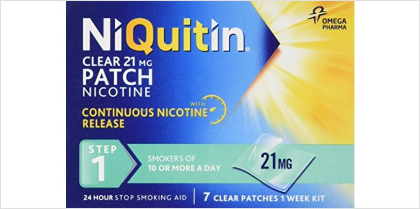 NiQuitin Clear 24 Hour 7 Patches Step 1, 21mg - 1 Week Kit and more from Amazon