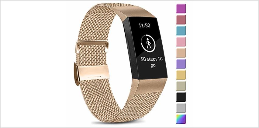 Amzpas Compatible with Fitbit Charge 3 Strap/Fitbit Charge 4 Strap, Adjustable Mesh Loop Stainless Steel Metal Strap with Unique Magnet Lock for Fitbit Charge 3/Charge 4 (05 Champagne Gold, S) from Amazon