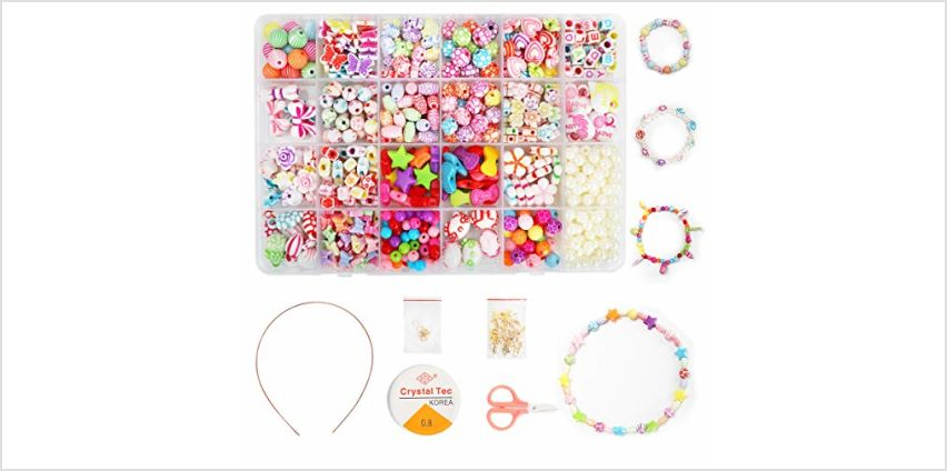 Children DIY Bead Set, Ucradle 500pcs Pony Alphabet Pop Beads for Making Necklace Bracelet Ring, Art Craft & Jewellery Making Kit for Kids Girls Age 4 5 6 7 8, 24 Types from Amazon