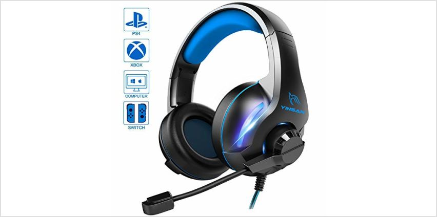YINSAN Gaming Headset, Xbox One Headset, PS4 Headset Soround Stereo Gaming Headphones with Mic & LED Light, Over-Ear Soft Memory Earmuff, Compatible with PC/PS4/Xbox One/Switch from Amazon