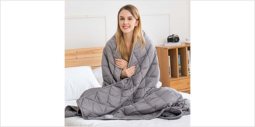 Weighted Blanket Adult - Sensory Calming Blanket - Anti-Anxiety Blanket for Better Sleep, Reduce Stress, Anxiety Relieve, 100% Cotton Heavy Blanket Grey from Amazon