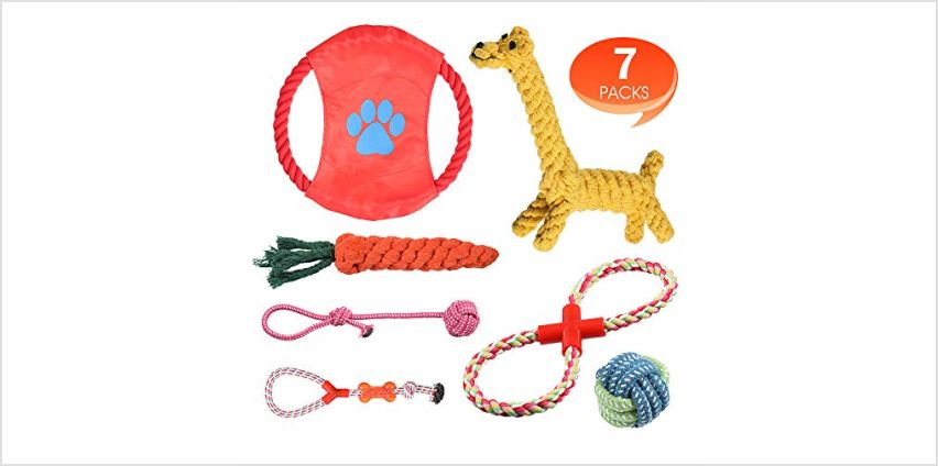 Rimila Puppy Dog Chew Toys Teething Training, Giraffe Rope Toy Rubber Interactive Toy Gift Set for Small and Medium Dogs. from Amazon