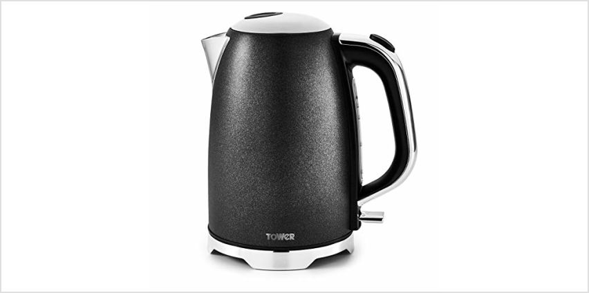 Save on Tower T10039 Fast Boil Kettle with Automatic Shut-Off, Concealed Heating Element, Boil Dry Protection, Stainless Steel Housing, 3000 W, 1.7 Litre, Black Glitz Sparkle and more from Amazon