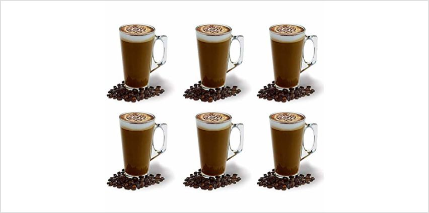 Large Latte Glass Coffee Cups - 385ml (13 oz) - Gift Box of 6 Latte Glasses - Compatible with Tassimo Machine (6 Pack) from Amazon