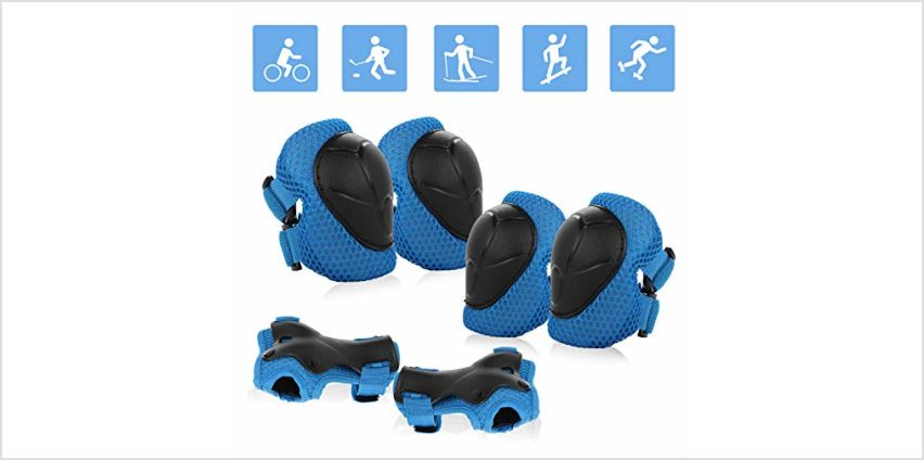 JIM'S STORE Kids Protective Gear Set 6pcs Adjustable Kids Knee Pads Elbow Pads Wrist Pads for Scooter Cycling Roller Skating Skateboard from Amazon