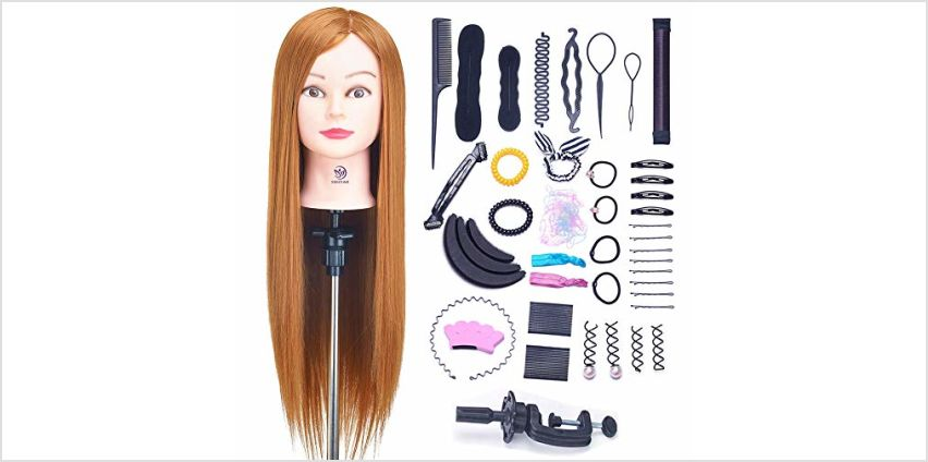 SIGHTLING 26inch 50% Real Human Hair Training Head Cosmetology Hairdressing Mannequin Manikin Doll Head with Table Clamp Holder & DIY Hair Braid Set from Amazon