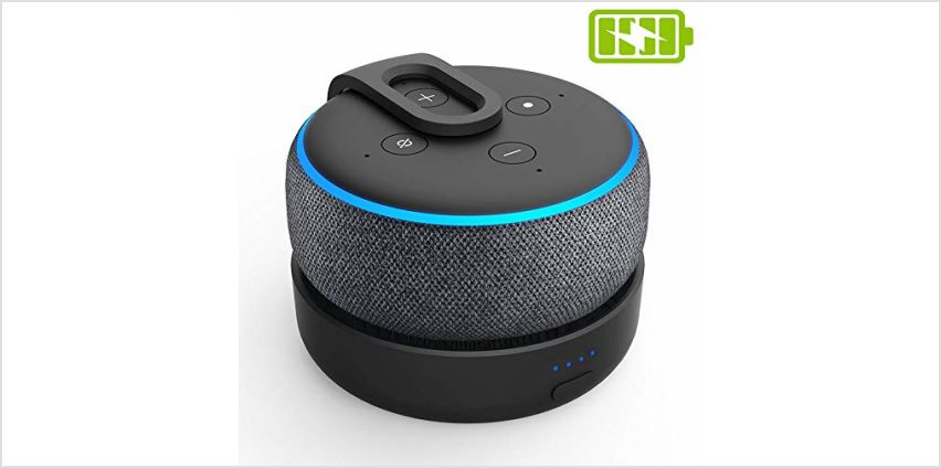 Updated Battery Base for Dot 3rd Generation&Smart Speakers – Portable Wireless Recharger Dot Accessories with 8 Hours playtime, Black (Dot Not Included) from Amazon