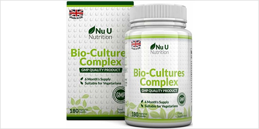 Bio-Cultures 180 Capsules (6 Month Supply) | Vegetarian Multi Strain | High Strength Cultures Includes Lactobacillus Acidophilus & Bifidobacterium | Capsules not Tablets by Nu U Nutrition from Amazon