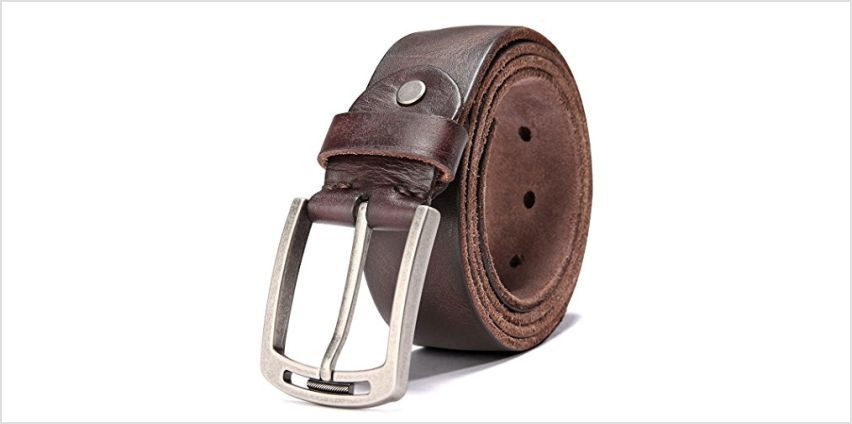Hzhy Men's Leather Belt,100% Full Grain Leather with Anti-Scratch Pin Buckle,Great for Jeans,Casual,Cowboy & Work Wear from Amazon