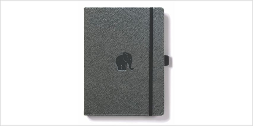 Save on Dingbats D5008GY Wildlife Medium A5+ Hardcover Notebook - PU Leather, Micro-Perforated 100gsm Cream Pages, Inner Pocket, Elastic Closure, Pen Holder, Bookmark (Lined, Grey Elephant) and more from Amazon