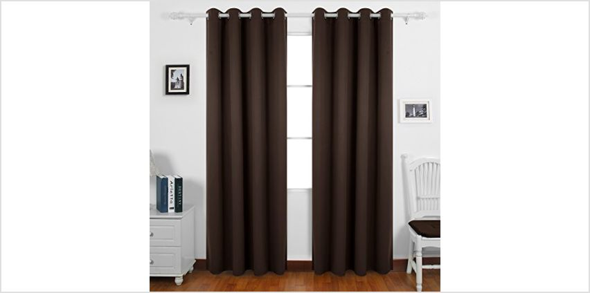 """Deconovo Super Soft Solid/Plain Thermal Insulated Eyelet Blackout Curtain Drape for Baby, Including Two Matching Ties, 66""""x90""""Drop(168x229cm), 2 Panels, Chocolate from Amazon"""