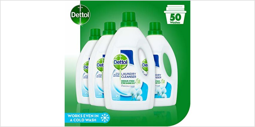 Dettol Antibacterial Laundry Cleanser Liquid Additive, Fresh Cotton, Multipack of 4 x 1.5 Litre from Amazon