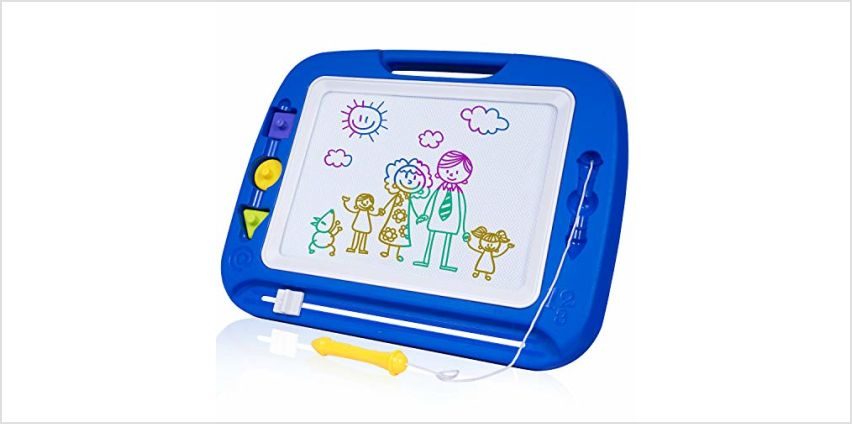 SGILE Large Magnetic Board with Stamps and Album for Toddler, Erasable Scribble Pad, 42×33.5cm, Blue from Amazon