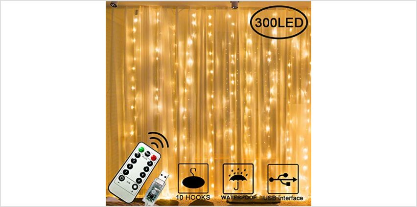 300 LED Curtain Lights, USB Plug in Window Lights, 3m x 3m 8 Modes Remote Control Fairy Light Waterproof LED Copper String Lights for Outdoor Indoor Wedding Party Garden Bedroom Decoration from Amazon