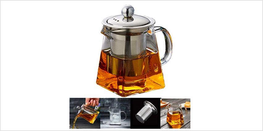PluieSoleil Glass Teapot 350 ml Teapot for One with Heat Resistant Stainless Steel Infuser Perfect for Tea and Coffee (350ML) from Amazon