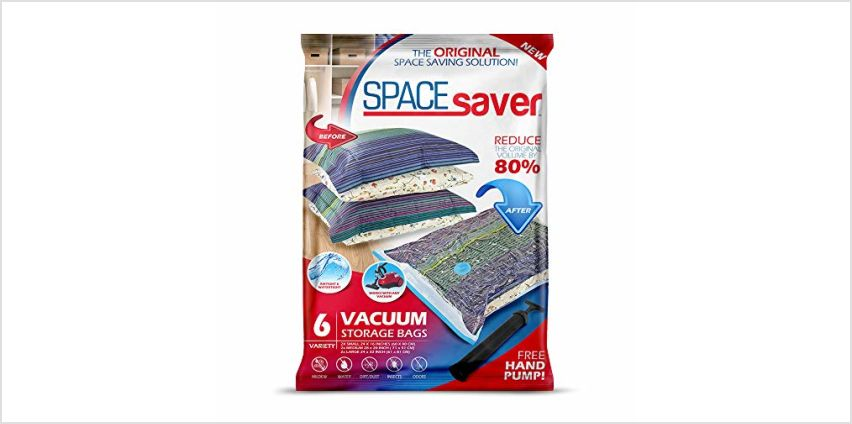 Spacesaver Premium Vacuum Storage Bags, Lifetime Replacement Guarantee, Works with Any Vacuum Cleaner, 80% More Storage Space! Free Hand-Pump for Travel! from Amazon