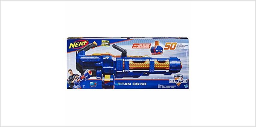 Nerf Elite Titan CS-50 Toy Blaster – Fully Motorised, 50-Dart Drum, 50 Official Nerf Elite Darts, Spinning Barrel – For Children, Teens, Adults from Amazon