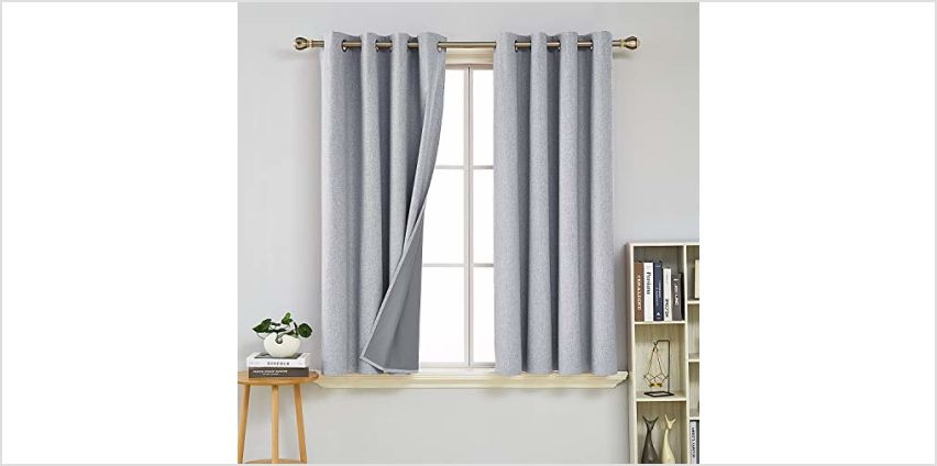 Deconovo Faux Linen Blackout Curtains Thermal Insulated Energy Saving Window Treatment Eyelet Room Darkening Curtains from Amazon