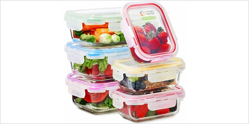 Glass Food Storage Containers with Lids - 6-Pack Set (3x1040ML, 3x370ML) - Meal Prep Lunch Boxes - Microwave, Fridge, Freezer, Dishwasher, Oven Safe - BPA-Free - Easy Snap, Airtight and Leakproof Lid from Amazon