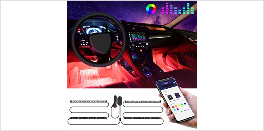 Interior Car Lights, Govee Car LED Strip Light Upgraded Two-Line Design Waterproof 4pcs 48 LED APP Controlled Lighting Kits, Multi DIY Colour Music Under Dash Car Lighting with Car Charger, DC 12V from Amazon