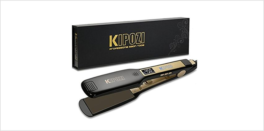 KIPOZI Professional Hair Straighteners UK Wide Plates with Digital LCD Display Dual Voltage Salon Fast Hair Styler,Black from Amazon