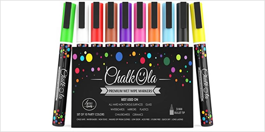 Extra Fine Tip Chalkboard Chalk Pens | 1mm Nib | Pack of 8 Classic Earth Colors | Non-Toxic Wet-Erase Liquid Chalk Ink Markers from Amazon