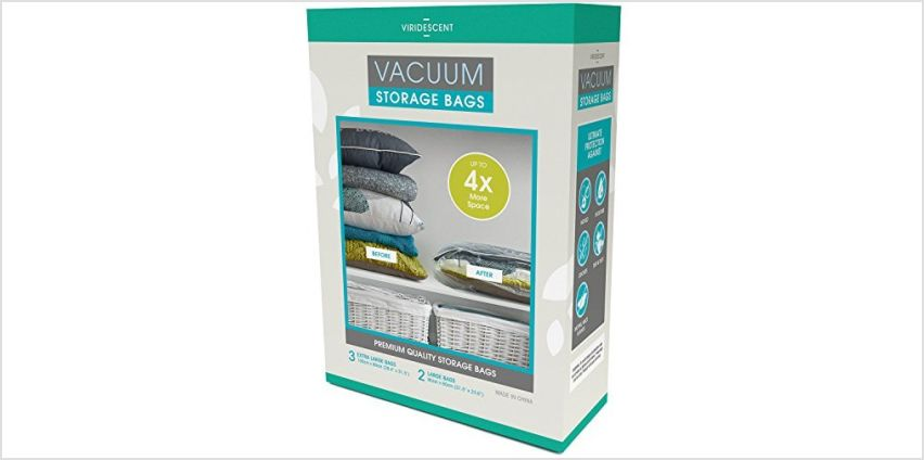 Viridescent® Vacuum Storage Bags: 100 MICRON (Up to 35% Thicker) Stronger Higher Quality; 5 pack (Large, Jumbo) from Amazon