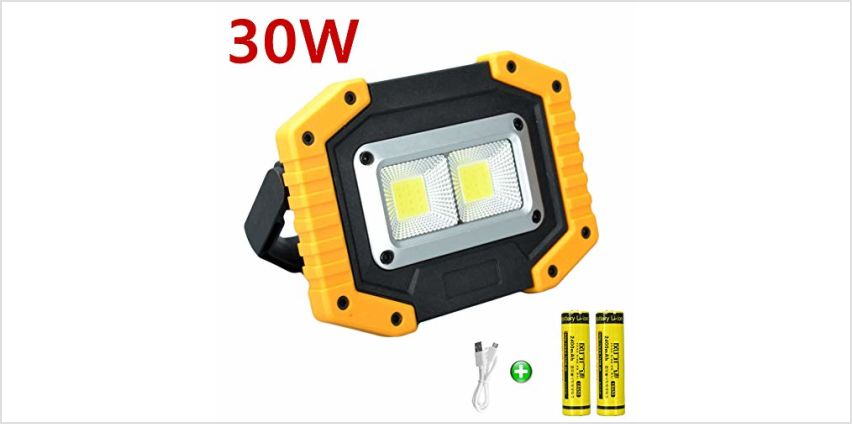 longdafei Rechargeable Floodlight, 30W LED Rechargeable Work Light Outdoor Floodlight Camping Lights with USB Waterproof for Outdoor Camping Traveling Fishing Security Lights from Amazon