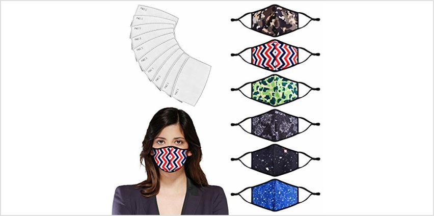 5pc Printed Fashion Face Protect with Filter(10pc)-Washable and Reusable for Anti Dust,Outdoor Activities from Amazon