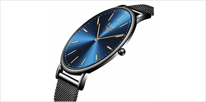 LIGE Ultra-Thin Mens Watches Unisex Waterproof Sport Stainless Steel Mesh Wrist Watch Gents Fashion Simple Analogue Watches for Woman … from Amazon