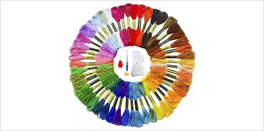 TICIOSH Embroidery Threads with 5 Free Embroidery Tools Colour Floss Cross Stitch Threads Craft Thread Sewing Friendship Bracelets Thread for DIY Crafts (150 Color)(50 Color) from Amazon