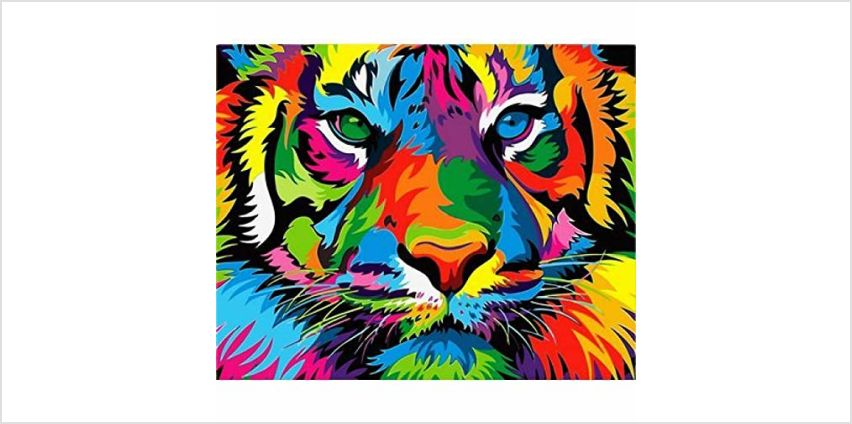 """iCoostor Paint By Numbers DIY Acrylic Painting Kit For Kids & Adults Beginner – 16"""" x 20"""" Colorful Chimpanze Pattern from Amazon"""