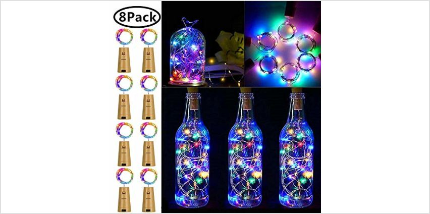 Wine Bottle Lights with Cork, 8 Pack Battery Operated LED Cork Shape Silver Wire Fairy Mini String Lights for DIY, Party, Decor, Wedding Indoor Outdoor (Cool White) from Amazon