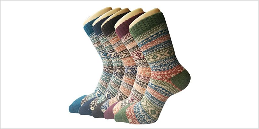5 Pairs Womens Thermal Wool Socks Warm Knit Ladies Socks for Winter, One Size, A6 from Amazon