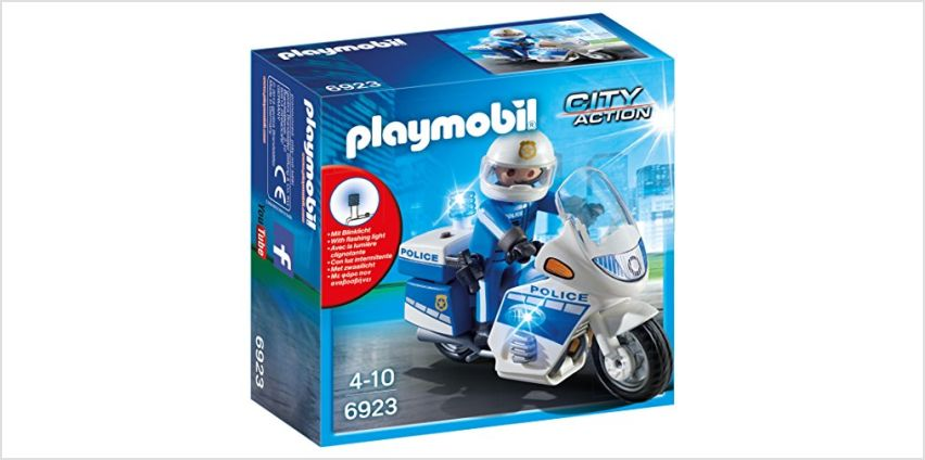 Playmobil 6923 City Action Police Bike with LED Light, for Children Ages 5+ from Amazon