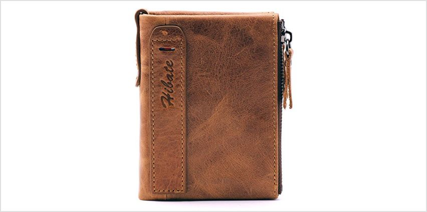 Hibate Men Leather Wallet RFID Blocking Men's Wallets Credit Card Holder Coin Pocket Purse from Amazon