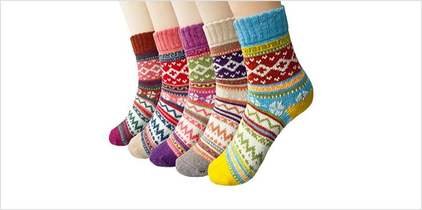 Pack of 5 Womens Winter Soft Warm Thick Knit Wool Vintage Casual Crew Socks from Amazon