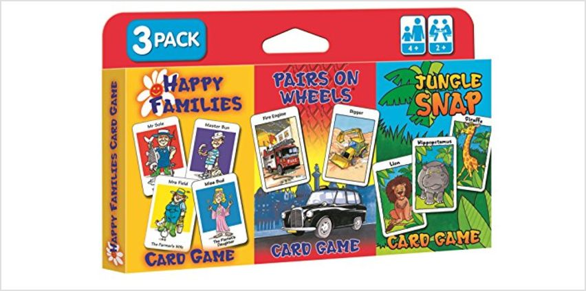 Save on Children's Card Games - Jungle Snap, Pairs on Wheels & Happy Families 3 Pack and more from Amazon
