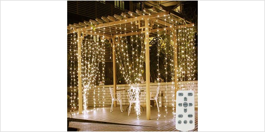 Fenvella Fairy Curtain Lights, 300 LEDs 9.8Ft/3M LED String Lights. 8 Different Modes of Remote Control Timer USB String Lights for Indoor, Outdoor, Holiday, Party, Festival from Amazon