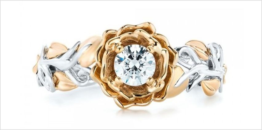 Floral Ring with Crystals from Swarovski from GoGroopie