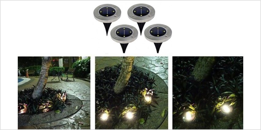 4 or 8 LED Solar Powered Ground Disk Lights - 2 Lights from GoGroopie