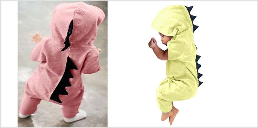 Baby Hooded Dinosaur Jumpsuit - 6 Colours & 4 Sizes from GoGroopie