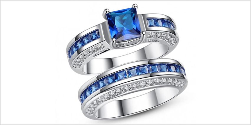 2.5ct Blue Created Sapphire Ring with FREE Earrings - Free Delivery! from GoGroopie