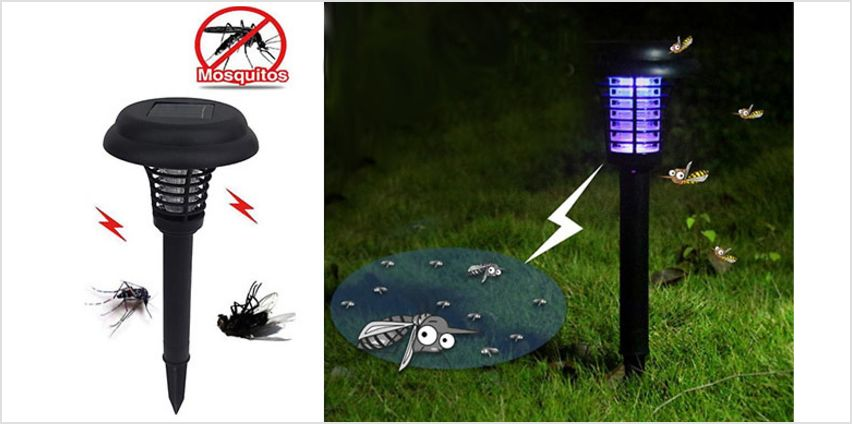 2-in-1 Bug Zapper with Optional Solar-Powered Garden Lights from GoGroopie