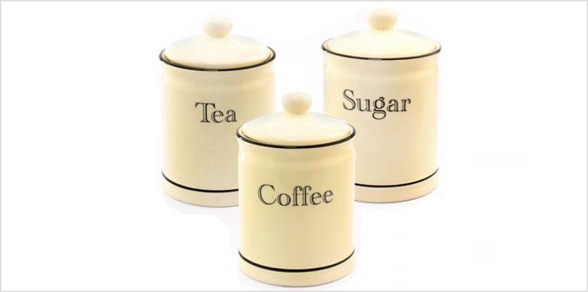 3-Piece Ceramic Set - Tea, Coffee and Sugar Jars from GoGroopie
