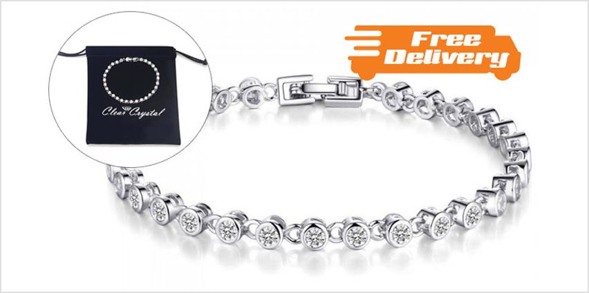 3ct Simulated Sapphire Tennis Bracelet - Free Delivery! from GoGroopie