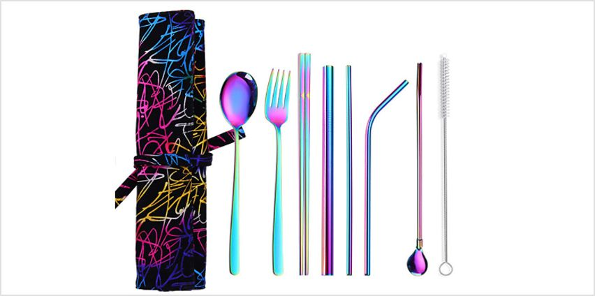 7-Piece Stainless Steel Cutlery Set - 7 Colours from GoGroopie