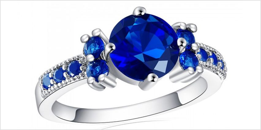 2.33ct Simulated Ruby, Sapphire, Emerald or Amethyst Ring from GoGroopie